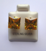 9mm square Princess cut Citrine Cubic Zirconia Sterling silver Stud earrings